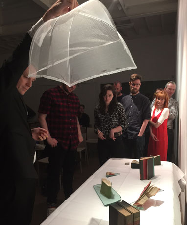 milles feuilles performance by Mark Aerial Waller at South London Gallery relating to John Latham exhibition at Flat Time House